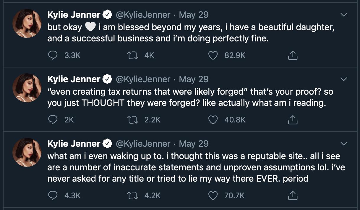 Forbes лишил Кайли Дженнер статуса миллиардера, но она не стала молчать